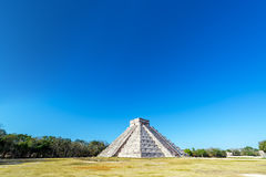 Chichen Itza Wide Angle View. Wide angle view of the pyramid in the Mayan ruins of Chichen Itza in Mexico stock photography