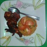 Chichen Tandori и блюдо жареных рисов yammy стоковое фото rf