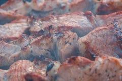 Chiches-kebabs de boeuf de rôti sur le gril de BBQ Appétissant marinez le shashlik dessus Image stock