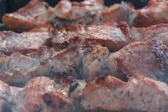 Chiches-kebabs de boeuf de rôti sur le gril de BBQ Appétissant marinez le shashlyk pré Image libre de droits