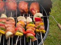 Chiches-kebabs de poulet sur le BBQ de charbon de bois Image libre de droits