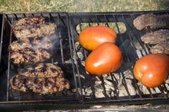 Chiches-kebabs et tomates sur un gril de charbon de bois Photo stock