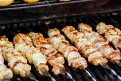 Chiches-kebabs rôtis juteux sur le BBQ photographie stock libre de droits