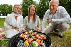 Chiches-kebabs sur le barbecue portatif Images libres de droits