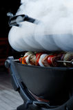 Chiches-kebabs sur le gril de tabagisme Photos stock