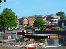 Chichester Canal Harbor in the Morning. A lovely view of the Chichester Canal harbor in Chichester, England, UK in the late morning. The water is still and the royalty free stock images