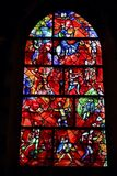 Stained glass window in Chichester Cathedral designed by Marc Chagall and made by Charles Marq. Chichester Cathedral: the famous stained glass window by Marc Royalty Free Stock Photo
