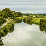 Chichester Cathedral and The Salterns Canal royalty free stock images