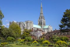 Chichester Cathedral in Sussex. A beautiful view of Chichester Cathedral in the historic cathedral city of Chichester in West Sussex, UK stock photo