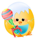 Chick baby with rattle Stock Photography