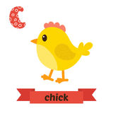 Chick. C letter. Cute children animal alphabet in vector. Funny Stock Image