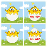Chick Cartoon Character Different Poses giallo divertente 10 Insieme dell'accumulazione illustrazione vettoriale