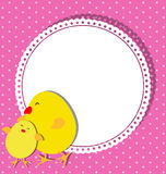 Chick and chicken on card design for Mothers Day Stock Images