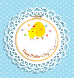 Chick and chicken on embroidery hoop for mothers day card Stock Photography