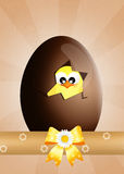 Chick in the chocolate egg Royalty Free Stock Image