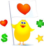 Chick and customizable sign Royalty Free Stock Image