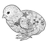 Chick doodle. Illustration Chick was created in doodling style in black and white colors.  Painted image is  on white background Royalty Free Stock Photography