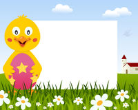Chick with Easter Egg Horizontal Frame stock photo