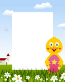 Chick with Easter Egg Vertical Frame stock photos