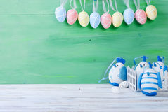 Chick and Easter eggs in the nest Royalty Free Stock Images
