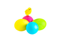 Chick on Easter eggs on the white background. Petite chick on multicolored Easter eggs on the white background Royalty Free Stock Photo