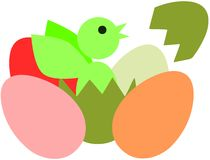 stylized Chick in egg isolated Stock Photo