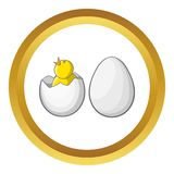 Chick in egg vector icon Stock Images