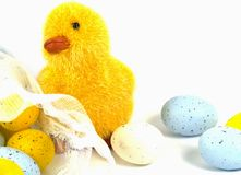 An chick with eggs as a  Easter decoration Stock Photo