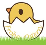 Chick in an eggshell. And german text for Happy Easter, isolated on white Stock Image