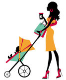 Chick fashion mom shopping. With her baby in a stroller vector illustration