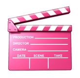 Chick Flick. Pink clap board female target audience movies symbol represented by an isolated romantic love theme film slate Stock Photography