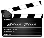Chick Flick Clapperboard. A typical movie clapperboard with the legend Chick Flick isolated on white Royalty Free Stock Image