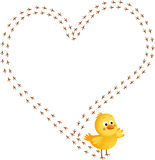 Chick footprint forming a heart Stock Photo