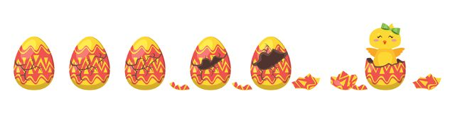 Chick hatch animation from  egg. Vector cartoon style illustration of cracking colorful ornament Easter egg for animation. Cute yellow chick with green bow Stock Photo