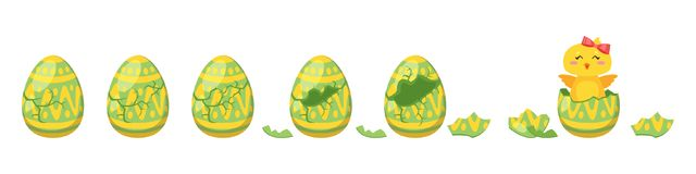 Chick hatch animation from  egg. Vector cartoon style illustration of cracking colorful ornament Easter egg for animation. Cute yellow chick with red bow hatched Royalty Free Stock Image