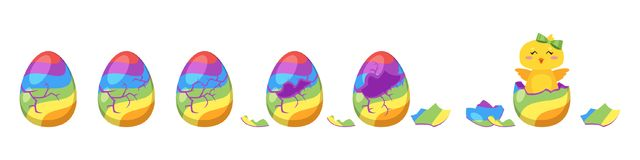 Chick hatch animation from  egg. Vector cartoon style illustration of cracking rainbow color Easter egg for animation. Cute yellow chick with green bow hatched Stock Images