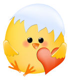 Chick with heart Royalty Free Stock Images