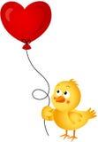 Chick holding heart balloon Stock Photo