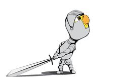 Chick knight. Angry chick knight on white background Stock Image