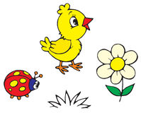 Chick and ladybug (vector) Stock Photos