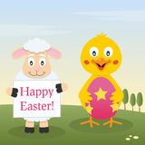 Chick & Lamb with Easter Egg. A Happy Easter greeting card with a cute chick holding a Easter egg and a lamb holding a banner in a meadow. Eps file available stock illustration