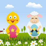 Chick & Lamb with Easter Eggs in Meadow Royalty Free Stock Images