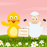Chick and Lamb Wishing a Happy Easter Stock Photography