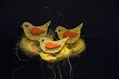 Chick in a nest decoration.Easter decoration royalty free stock images