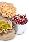 Chick-pea, mung beans, kidney-beans in the sacks Stock Image
