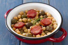 Chick pea with smoked sausages Royalty Free Stock Images
