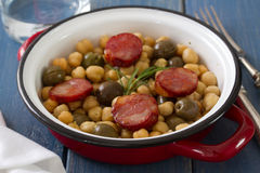 Chick pea with smoked sausages Stock Image