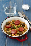 Chick pea with smoked sausages Stock Photos