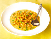 Chick pea soup. Delicious chick pea soup on dining table Stock Photos