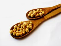 Chick pea in spoon Stock Photography